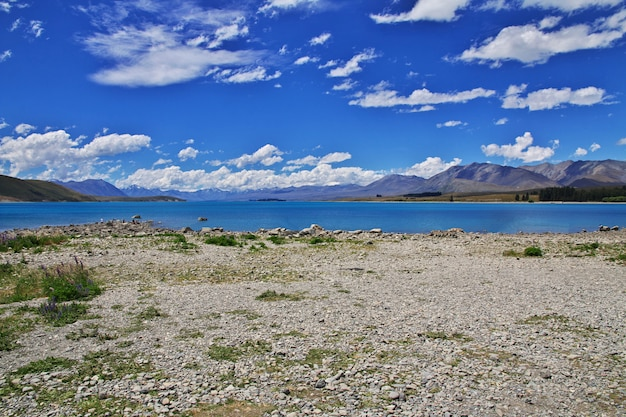Озеро текапо на южном острове, новая зеландия
