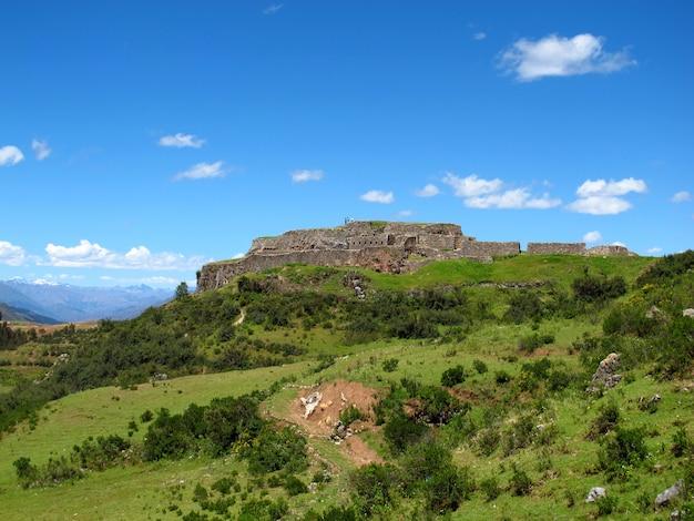 クスコ、インカ帝国、ペルーの要塞の古代遺跡