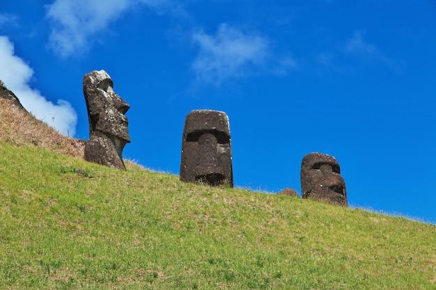 イースター島、ラパヌイ、チリのラノララクのモアイ像