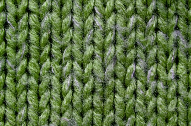 緑のニットテクスチャのクローズアップ
