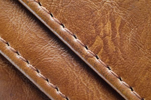 縫い目と自然な肌の茶色のテクスチャ