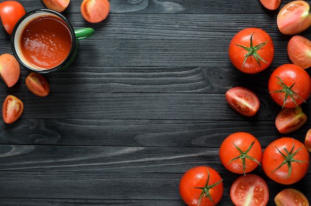 グリーンエナメルマグのトマトジュース