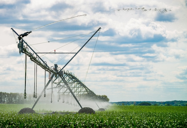 フィールドに水をまく灌漑ピボット
