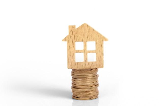 住宅のコインスタック家モデル貯蓄計画のビュー