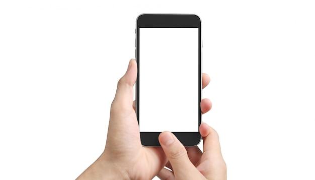 Человек рука держа смартфон устройства с сенсорным экраном