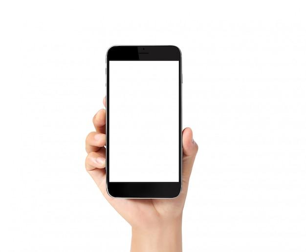 スマートフォンを手に触れる