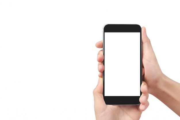 スマートフォンデバイスを押しながら画面に触れる男の手