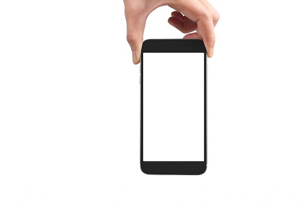 電話デバイスを押しながら画面に触れる男の手