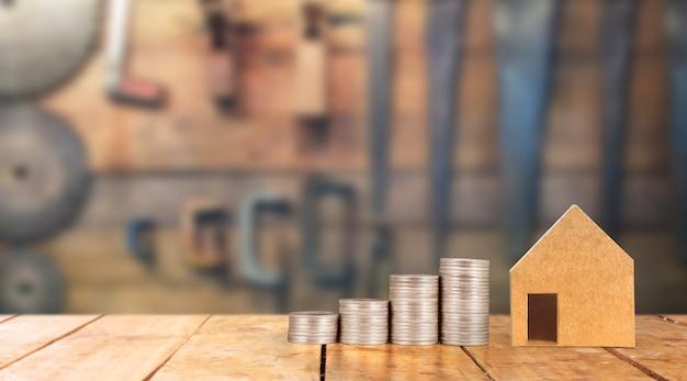 不動産投資と住宅ローンの金融概念お金コインスタック