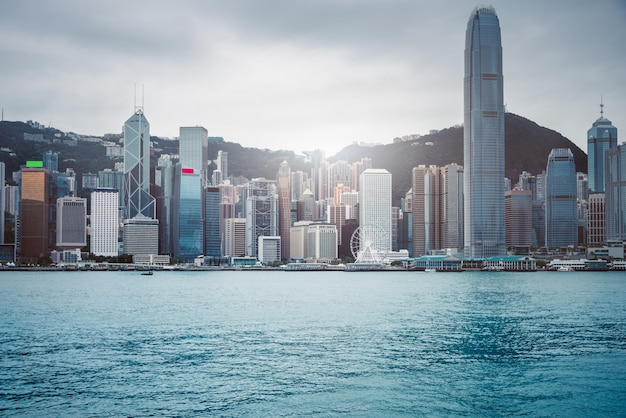 香港のビクトリアハーバー、高層ビル、中国