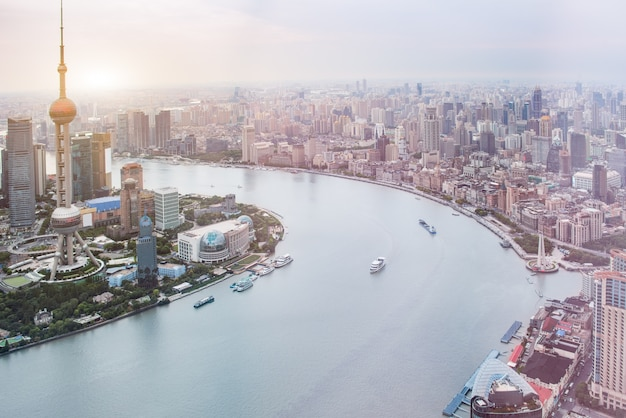 上海のスカイラインの航空写真