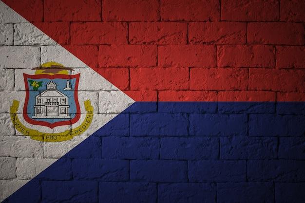 Флаг с оригинальными пропорциями. крупным планом гранж флаг синт-мартена