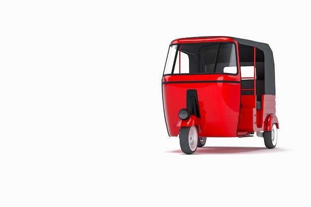 シームレスな白い背景で赤い人力車
