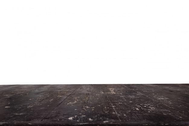 背景なしの暗い厚板で作られたテーブル