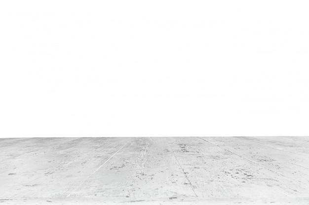 背景なしの白い厚板で作られたテーブル