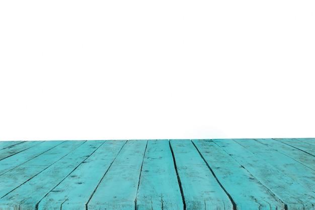 背景なしの古いターコイズ色の厚板で作られたテーブル