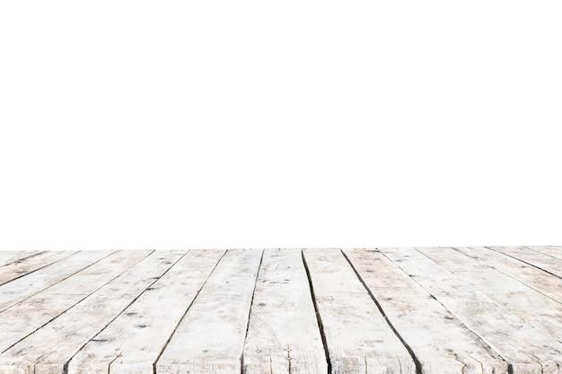 背景なしの古い白い厚板で作られたテーブル