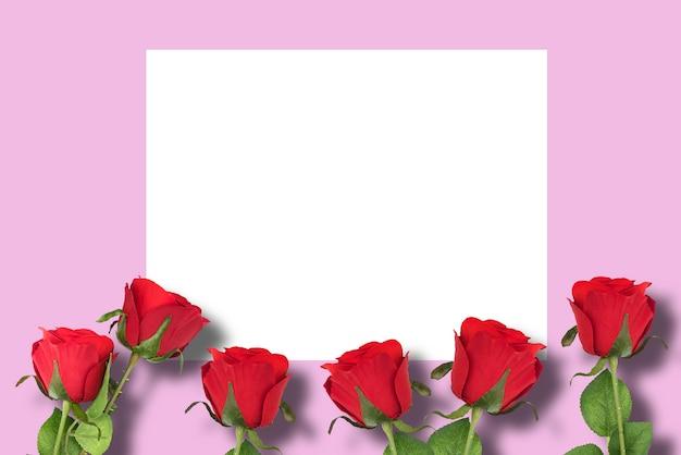 Красные розы с розовым фоном и белой рамкой