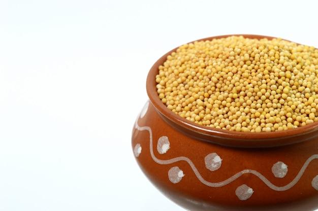 白い背景で隔離の土鍋で黄色いマスタードシード