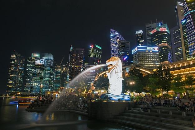 Сингапурский городской пейзаж на ночь