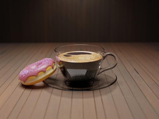 Горячий кофе американо на старом деревянном столе
