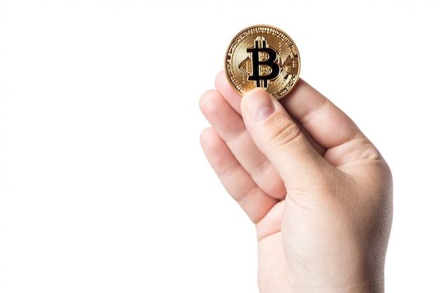 Женская рука символ криптовалюты электронные виртуальные деньги для веб-банкинга