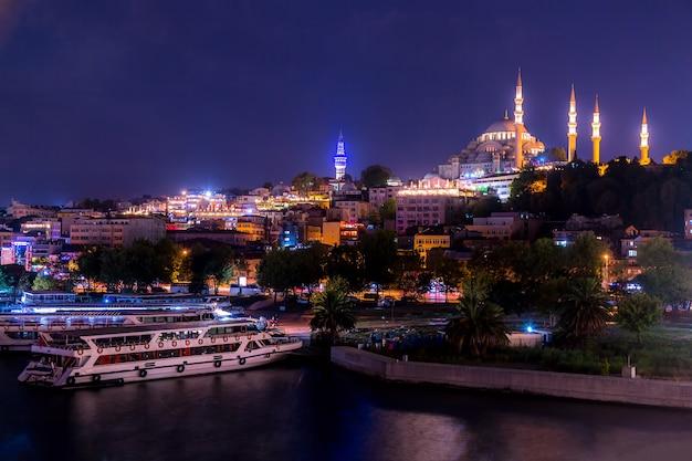 モスクと夜のイスタンブールのパノラマ。イスタンブール、トルコ。