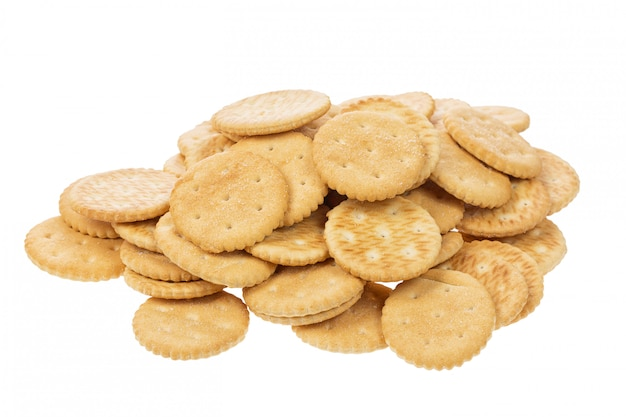 分離された塩とクラッカークッキー