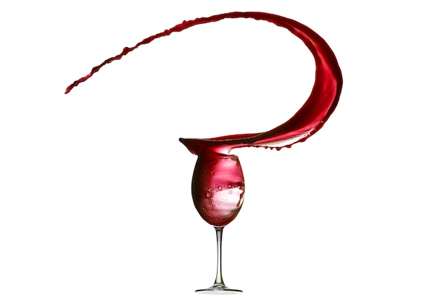 白で隔離される赤ワインの抽象的なしぶき