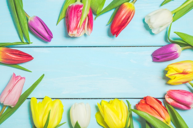 水色の木製の背景にカラフルな春のチューリップの花