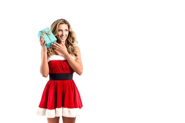 クリスマスプレゼントで美しいセクシーな女性