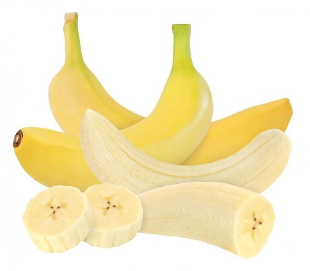 バナナ全体と皮をむいたバナナ