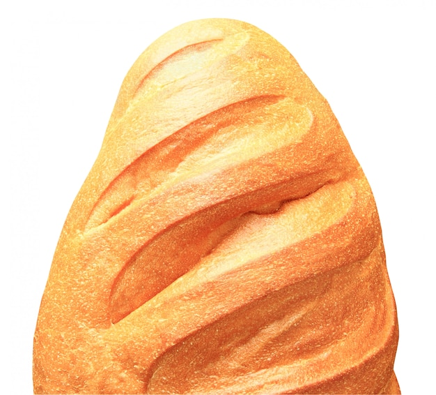 クリッピングパスと白い背景に分離された小麦粉半分トップビューから白パン。