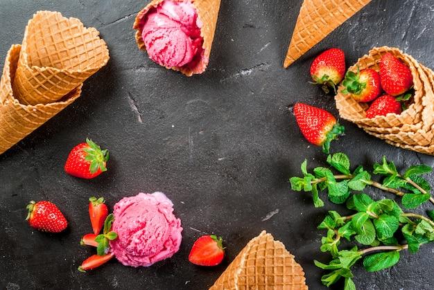 ピンクストロベリーアイスクリーム