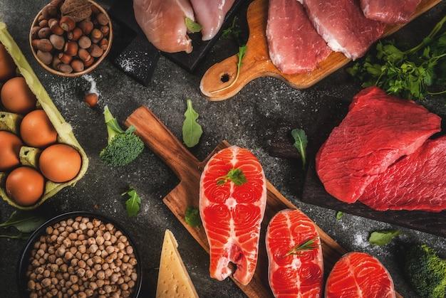 健康食品の背景。タンパク質源の選択:牛肉と豚肉、鶏肉の切り身、サケの魚、卵、豆、ナッツ、牛乳。トップビューコピースペース、暗い背景