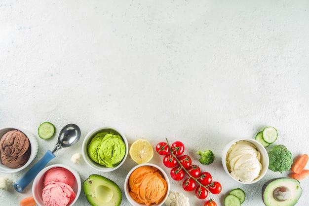 トレンディなカラフルな野菜アイスクリーム