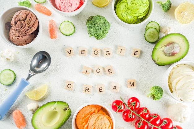 Модное красочное растительное мороженое
