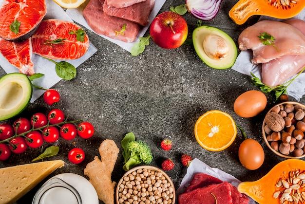 Здоровая диета фон. органические пищевые ингредиенты