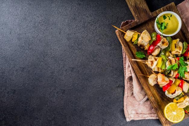 野菜と鶏の串焼き