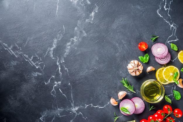 Овощи и зелень для приготовления пищи, вид сверху