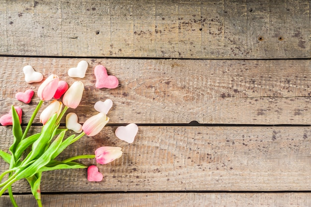 心、花とバレンタインデーの背景
