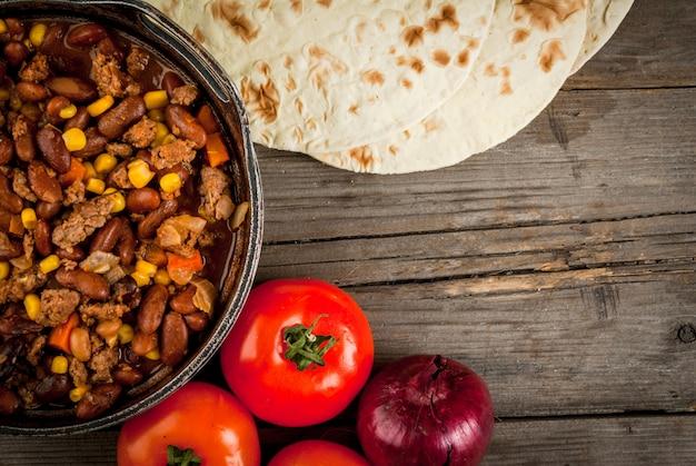 伝統的なメキシコ料理-チリコンカルネ
