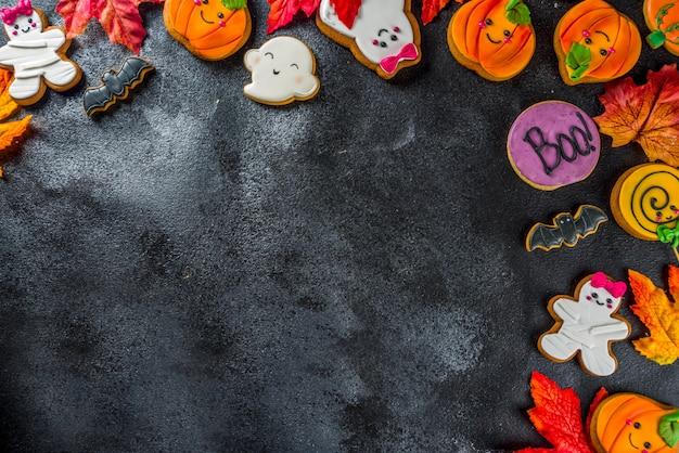 面白いジンジャーブレッドクッキーとハロウィーンの背景