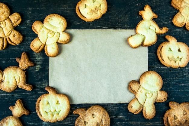 ハロウィーンと感謝祭のためのクッキー。子供のためのおかしい食べ物、パーティーのためのおやつ。