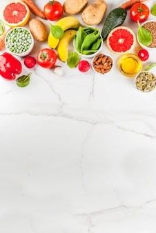 Здоровая пища фон, модные щелочные продукты диеты по вертикали