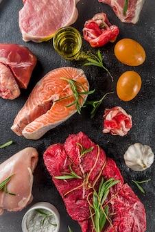 ハーブとオイルを含むさまざまな肉の種類