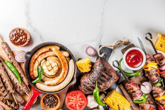 各種バーベキュー料理グリル肉、バーベキューパーティーフェストフード