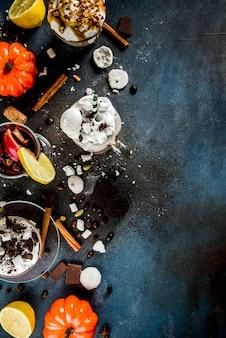 さまざまな秋と冬の温かい飲み物