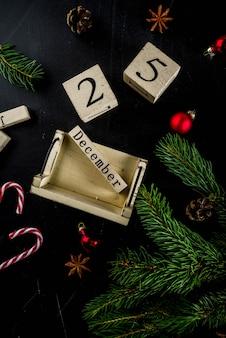 装飾、モミの木の枝のクリスマスコンセプト