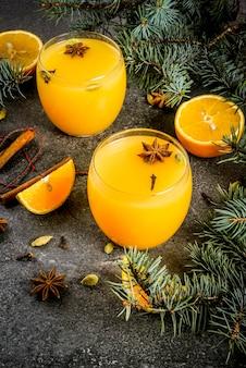 秋、冬のカクテル、ホットでスパイシーな冬のオレンジパンチ